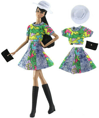 4in1 Set Fashion Doll Clothes Outfit Top+skirt+hat+bag for 11.5 in Doll #07