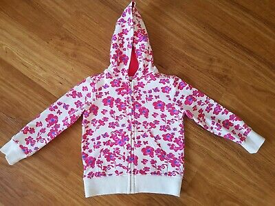 Marks & Spencer~M&S Kids~Cute Girls Pink & White Floral Zip Up Hooded Jacket 3/4