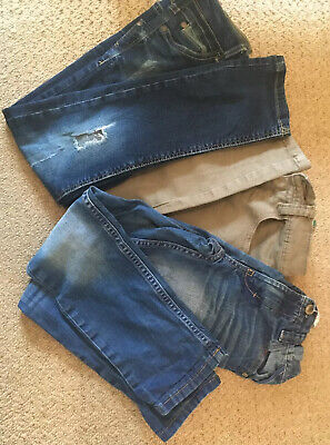 Boys Jeans Bundle Age 7 Years (6-7) - Next 3 Pairs Ripped Blue Stone Skinny Reg