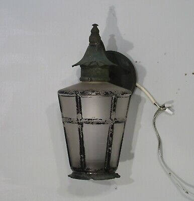 Antique Vintage  Outdoor Wall Sconce Lantern Patina Original Petite Black Green