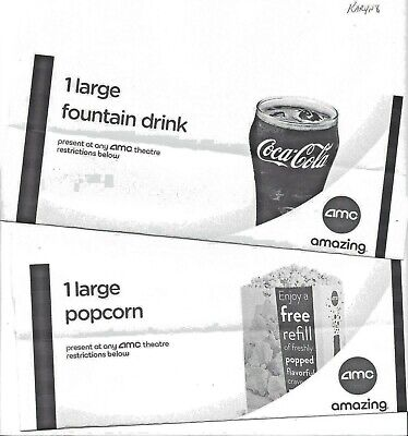 AMC Movie Theater  Large Fountain Drink & Large Popcorn Exp 6/30/20