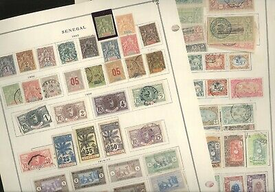SENEGAL, SOMALIA, SCHLESWIG, Excellent assortment of old stamps  hinged on pages