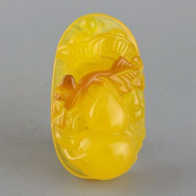 Collectable China Old Amber Hand-Carve Cucurbit Moral Auspicious Delicate Pendat