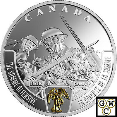 2016 The Somme Offensive-Battlefront Prf $20Gold-Plated 1oz.9999 Fine(NT)(17719)