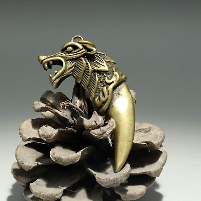 Collectable Handwork China Old Bronze Carve Wolf Delicate Unique Decor Pendant