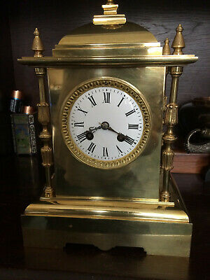 Antique Victorian French 8 Day Solid Brass Clock