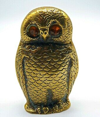 Vintage/Antique Solid Brass OWL Match Stick Holder, Orange Glass Eyes