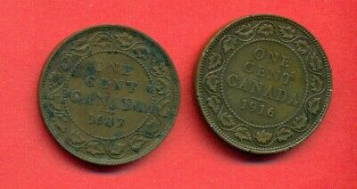 Canada 1916 & 1917 Two Large Circulated Copper Cents - George V
