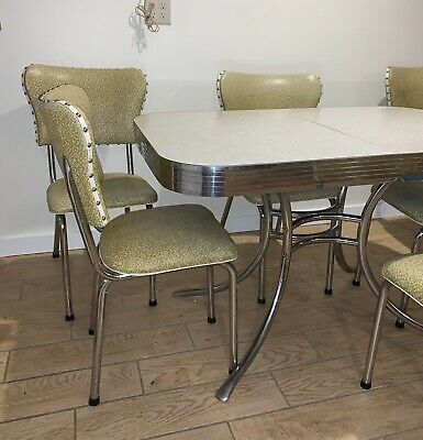 VINTAGE 50's RETRO MID-CENTURY MODERN FORMICA DINETTE SET-TABLE w/LEAF, 6 CHAIRS