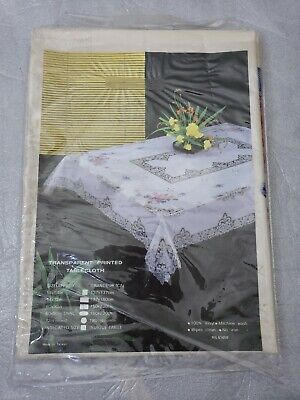 """Vintage Printed Transparent Table Cloth Tablecloth 60""""x90"""" Floral Lace Rectangle"""