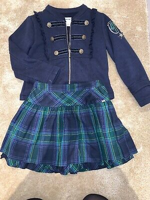 Girls Mayoral Age 5 Navy Jacket And Checkered Skirt , Worn Once!! 💙