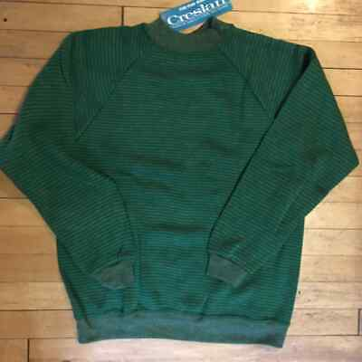 Vintage 60s NOS Creslan The Fun Shirt Striped Sweater Sweatshirt Sz L Green