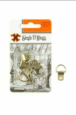 4 x 'X' Brand Single D Picture Hanging Hele Brassed Rings Fittings With Screws