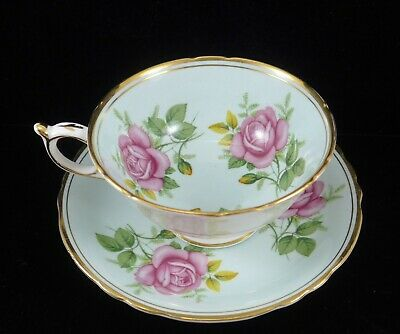 Beautiful Paragon Pale Blue Teacup with Roses Flowers