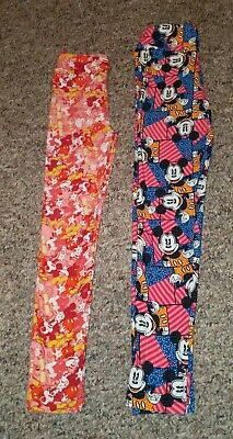 LulaRoe Disney Girls Size L/XL and Tween Mickey Mouse Leggings Lot of 2