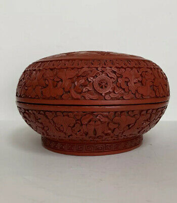 Fine Antique Chinese Carved Red Cinnabar Lacquer Lidded Round Scholar Box