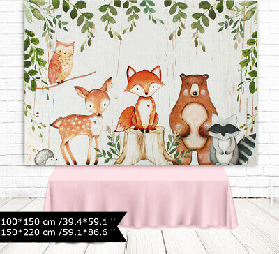 Baby Photography Backdrop Woodland Animals Birthday Party Background Prop AU
