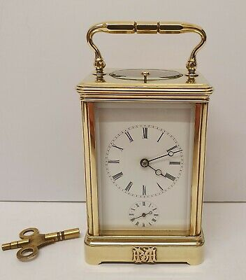 Quality Antique Brass Repeating Alarm Carriage Clock Lund & Blockley C1890 Gwo