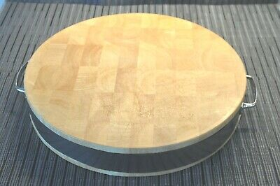 """Round Wood Chopping Cutting Board Block Checkerboard Large 15"""" Round Pre-Owned"""