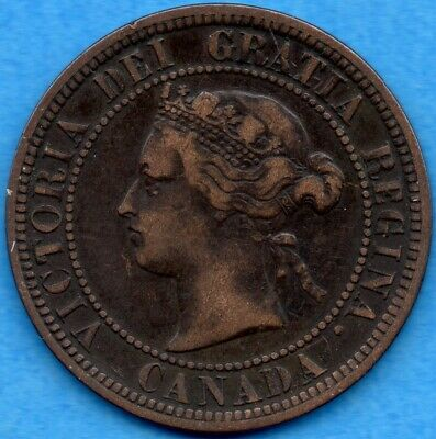 Canada 1876 H 1 Cent One Large Cent Coin - F/VF