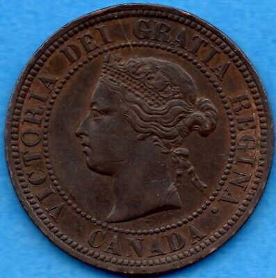 Canada 1876 H 1 Cent One Large Cent Coin - EF