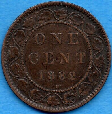 Canada 1882 H 1 Cent One Large Cent Coin - Fine