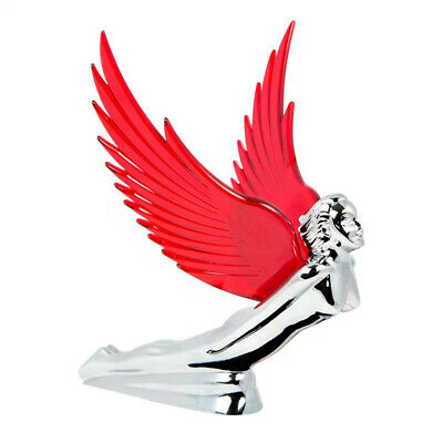 Chrome Flying Goddess Hood Ornament With Red Illuminated Wings