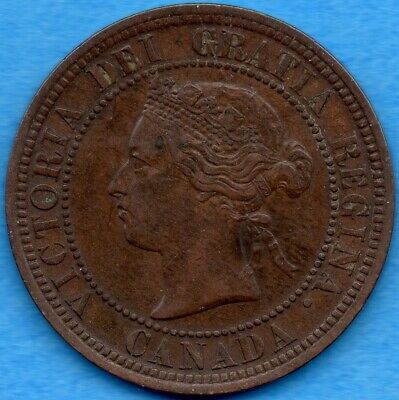 Canada 1882 H 1 Cent One Large Cent Coin - EF