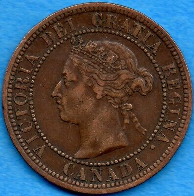 Canada 1887 1 Cent One Large Cent Coin - Very Fine