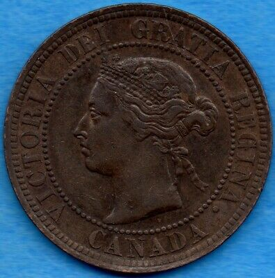 Canada 1887 1 Cent One Large Cent Coin - EF