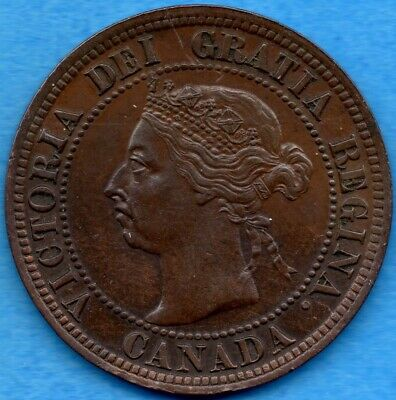 Canada 1891 LD LL 1 Cent One Large Cent Coin - EF