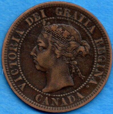 Canada 1892 1 Cent One Large Cent Coin - Fine+
