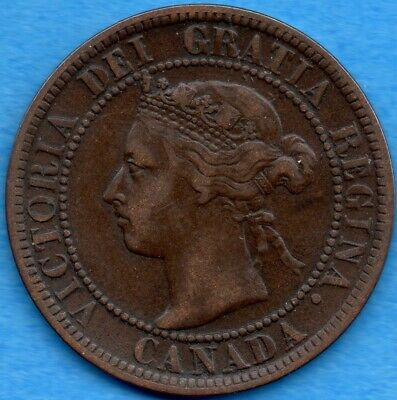 Canada 1894 1 Cent One Large Cent Coin - F/VF