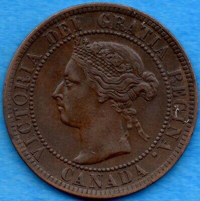 Canada 1894 1 Cent One Large Cent Coin - EF