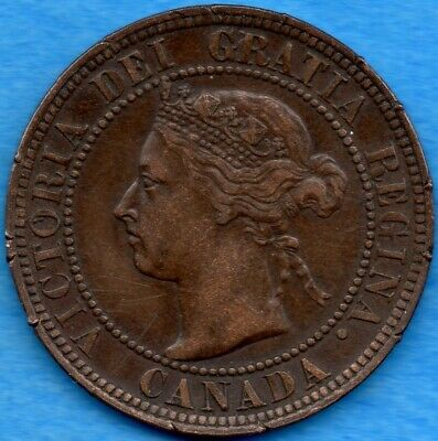 Canada 1896 1 Cent One Large Cent Coin - EF (rim damage)