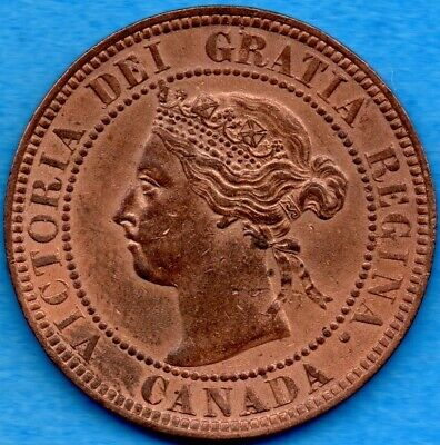 Canada 1896 1 Cent One Large Cent Coin - AU