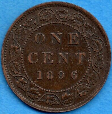 Canada 1896 Far 6 1 Cent One Large Cent Coin - EF