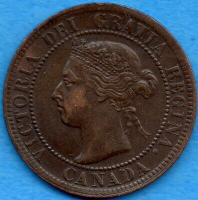 Canada 1897 1 Cent One Large Cent Coin - EF