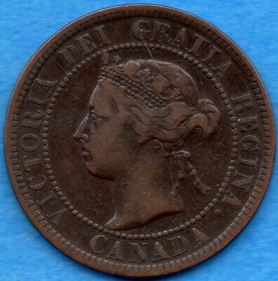 Canada 1900 1 Cent One Large Cent Coin - Fine