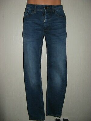 Worn Once Boys Skinny Fit Skinny Leg Faded Stonewashed Blue Jeans Age 14-15-16