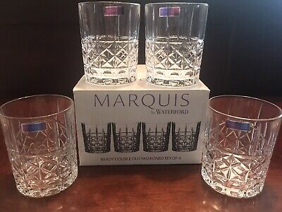 Set 4 Waterford Marquis Brady Pattern Double Old Fashioned Glasses NIB Crystal