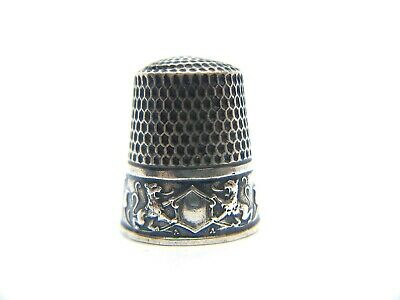 Antique WEBSTER CO Lion Coat of Arms Sterling Silver Thimble: Size 10, c. 1890s