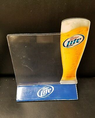 Rare DOUBLE SIDED MILLER LITE TABLE TOP BEER ADVERTISING SIGN & MENU HOLDER
