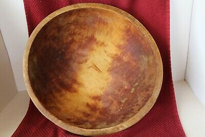 Hand Carved Antique Wooden Dough Bowl 13.5 in Primitive, Farm Nice Patina