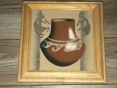 Signed Herman Tyler Jr Kokopelli Pottery Navajo Sand Painting Oak Wood Box 7.5""