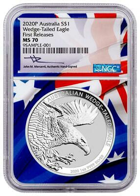 WEDGE TAILED EAGLE 2020 1 oz Silver Coin - NGC MS70 First Releases MERCANTI