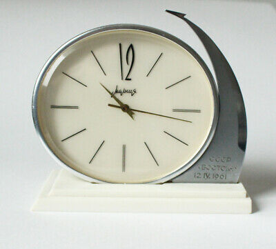 "Original mechanical table clock ""Molnija"" Space Vostok Gagarin USSR 1960s shelf"