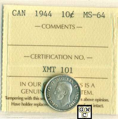 ICCS Canada 1944 - 10cents Coin ; MS-64 ; Cert. No- XMT 101