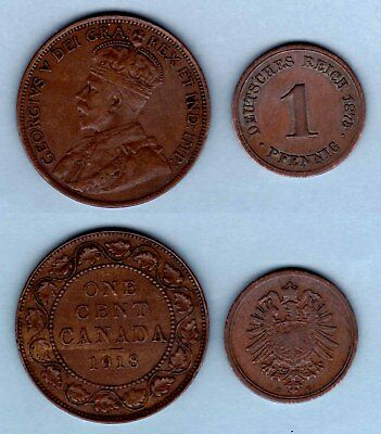 Lot of 2 Old Foreign Coins - Canada (1918) Large Cent + Germany (1875G) Pfennig