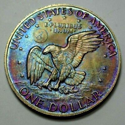 1973-S US  Eisenhower IKE $1 One Dollar  Silver, Toned Coin, No Reserve . !!